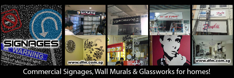 Commercial Signages, Wall Murals & Glassworks for homes