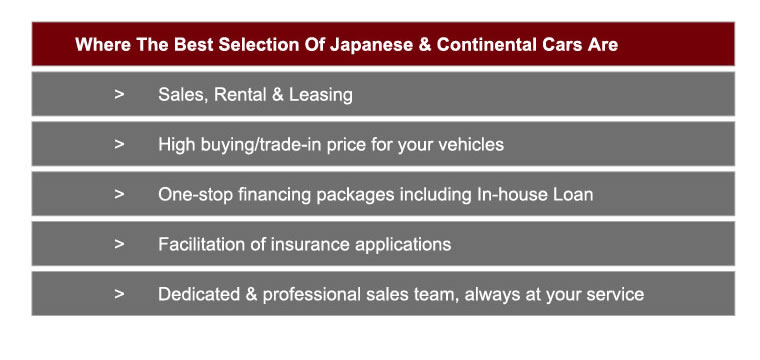 japanese and continental cars