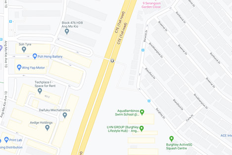 CTE before Ang Mo Kio Avenue 1 map