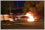 Driver injures himself when his car catches fire