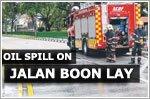 Oil spill on Jalan Boon Lay