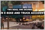 An accident involving electric bicycles and a container truck results in death