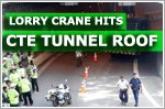 Lorry crane hits the roof of a CTE tunnel