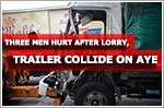 Three men hurt after lorry and trailer collide on AYE