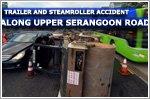 Traffic jam along Upper Serangoon Road after steamroller falls from trailer