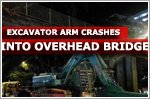 Excavator arm crashes into overhead bridge along Balestier Road