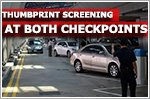 Thumbprint screening for car travellers at both checkpoints as part of trial