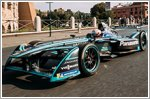 Panasonic Jaguar Racing driver Nelson Piquet Jr drives along the streets of Rome