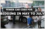 Fewer car COEs for bidding in May to July