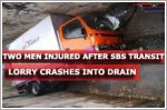 Two men injured after SBS Transit lorry crashes into drain