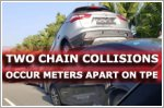 Two chain collisions involving eight cars occur metres apart on TPE