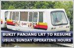 Bukit Panjang LRT to resume usual Sunday operating hours in November