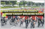 Fewer cyclists hurt in accidents, more caught breaking rules