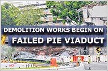 Demolition work under way of failed PIE viaduct