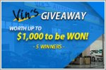 Vin's Automotive Giveaway - Up to $1,000 worth of vouchers to be won