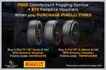 Free shopping vouchers and car fogging service with every set of Pirelli tyres from Kim Hoe & Co